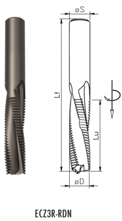 ECZ3R - Solid carbide roughing spiral router cutter